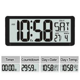 Большие дисплеи цифровые настенные часы онлайн-Квадратные настенные часы серии TXL, 13,8-дюймовый большой цифровой гигантский будильник, ЖК-дисплей, многофункциональный высококачественный офисный рабочий стол