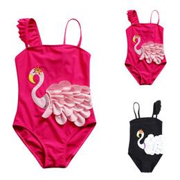 2019 modelli di costume da bagno dei bambini Bambini Swan 3D stampato costume da bagno delle neonate di un pezzo Swan Pattern costume da bagno per bambini Cartoon carino all'aperto costumi da bagno RRA707 modelli di costume da bagno dei bambini economici