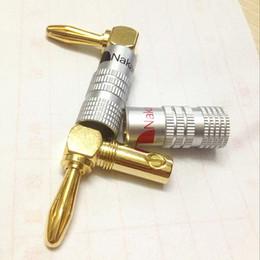 2019 oro nakamichi Nakamichi Gold Speaker Banana Plugs Connector 4 mm SPEAKON 8pin conectores Por DHL envío gratis oro nakamichi baratos