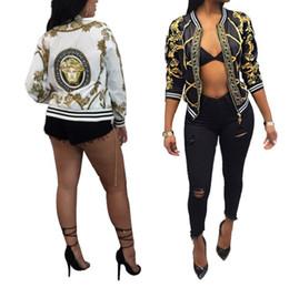 New Womens Printed Long Sleeve Jacket Tecnologia di posizionamento digitale Sottile modello oro Coat Fashion Sexy Zipper Stripe Lace Giacche da