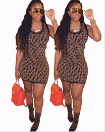 2019 vestiti bohémien economici Donne FF Full Long Slim Dress Luxury Designer Abiti estivi Marca manica corta Bodycon Gonna FENDS Womens Abbigliamento Abiti da festa