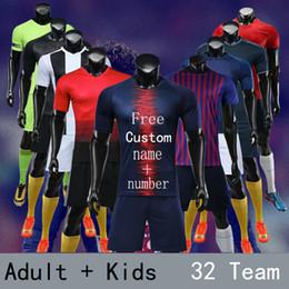 Leere fußball-uniformen online-Freie benutzerdefinierte Namenszahl, hochwertige Fußballtrikots, 18/19 leere erwachsene Kinderfußballuniformen eingestellt, Survêtement-Hochschulfußball-Hemdkleidung