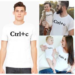 madre hija tee shirts Rebajas Ctrl X / c / v Blanco Camisetas a juego de la familia Padre Madre Hijo Hija Ropa Camiseta Bebé Body Mamá Papá y yo Tops Camisetas