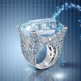 Grandes anillos de cristal online-Azul grande piedra princesa corte plata anillos de cristal para mujeres chica compromiso regalo de cumpleaños joyería anillo de lujo