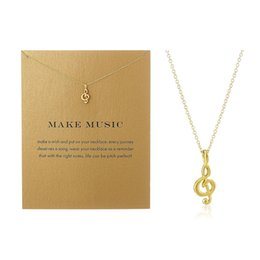 blessed plate charms Promo Codes - Music Note Pendant Necklace Simple Women Clavicle Necklace Dogeared Alloy Choker Jewelry with Blessing Card -A022