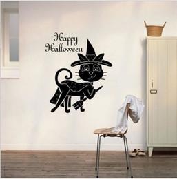 Adesivo de parede gato preto on-line-Halloween Black Cat Broom Geração Esculpido Adesivos de parede Vitrine porta de vidro A Sala Decore Wall Sticker Hw013 T190921
