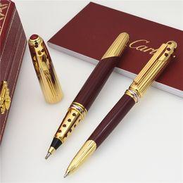 Dare regali online-Trasporto libero-penna di lusso superiore di alta qualità Carties Marche metallo penna a sfera penna a sfera scrivere forniture per ufficio regalo + dare borse di velluto