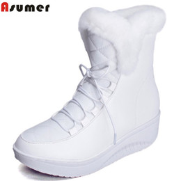 Botas planas lindas del invierno online-2019 Asumer Hot Sale Shoes Women Boots Solid Slip-on Soft Cute Women Snow Boots Punta Redonda Plana con Piel de Invierno Botines