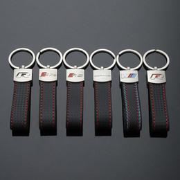 caja de teclas fiat Rebajas Llavero Cuero Metal 2,019 manera del anillo de la llave del coche la correa de cuero cromo para el BMW M Sport Audi Volkswagen