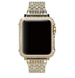 2019 sostituzioni di diamanti lunetta e cinturino di lusso realizzati a mano con cristalli di diamanti bling per la serie di orologi apple 4 3 2 1 38mm 40mm 44mm 42mm sostituzioni di diamanti economici