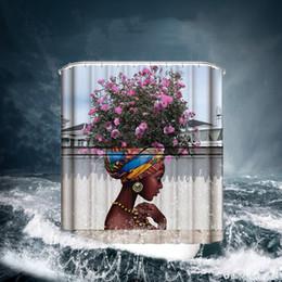 2019 rideaux blanc noir rouge Rideaux de douche Africains fille numérique numérique rideaux de bain imperméables 6 styles 150 * 180cm OEM modèle personnalisé shiping gratuit