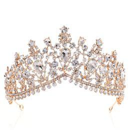 Tiaras für quinceanera online-Luxus Strass Tiara Kronen Kristall Braut Haarschmuck Hochzeit Kopfschmuck Quinceanera Pageant Prom Königin Tiara Prinzessin Krone