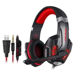 Mikrofon am besten online-Gaming-Kopfhörer für PS4 Laptop-Handys KOTION EACH G9000 3,5 mm Game Headset Kopfhörer Stirnband mit Mikrofon LED-Licht am besten