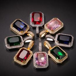 collana di pietra rubino Sconti Iced Cubic Zirconia rosa blu verde rosso quadrato pietra rubino ciondolo collana per uomo donna gioielli hip hop