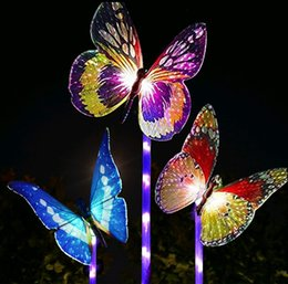 color changing fiber optic lights Coupons - Multi-Color Changing Solar Powered LED Garden Lights Fiber Optic Butterfly Decorative Lights outdoor decor Yard Art Garden Decoration