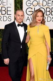 2019 robe jaune d'or 2019 nouveaux Sexy Globe d'or Awards Celebrity robes jaune sirène Split côté robes de soirée col haut châle tapis rouge robe formelle robes robe jaune d'or pas cher