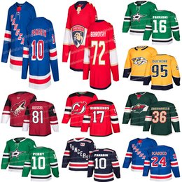 camisetas de hockey depredador Rebajas 2019 Jerseys de hockey Nashville Predators 95 Matt Duchene Florida Panthers 72 Sergei Bobrovsky New York Rangers 10 camisetas de Artemi Panarin
