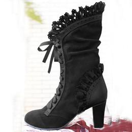 2020 Frauen reizvolle schnüren sich oben Heel kniehohe Lederstiefel aus Wildleder Vintage gotische Spitze Absatz Aufladungen Cosplay Herbst Schuhe