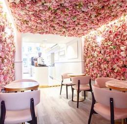 blütenstiel draht weiß Rabatt Künstliche Rose 40x60cm Customized Farben Silk Rosen-Blumen-Wand-Hochzeits-Dekoration Hintergrund Künstliche Blumen-Wand Romantische EEA1587