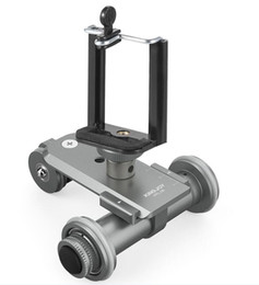 ruedas de cámara Rebajas Nuevo PPL-06 Motorizado eléctrico de 3 ruedas Video Polea Coche Dolly Rolling Slider Skater para Canon DSLR Camera + Smartphone Holder