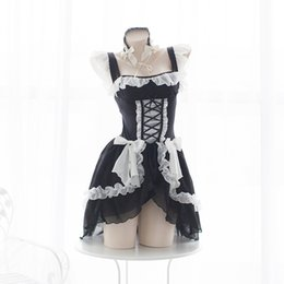 Gli insiemi sexy del costume di anime online-Lolita Sweet Gothic Dress Cute Anime Maid Costumes Lingerie Chiffon Ruffle Bikini Set per le donne Sexy lingerie Tentazione uniforme