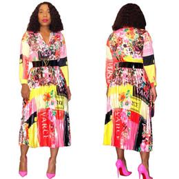 Multi line online-Free Ship 2019 New Women Fashion Print Gonna a pieghe ad alta elasticità Lady Casual A-Line Gonne a metà polpaccio XXL