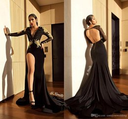 Argentina Sexy Cuello en V profundo Sirena negra Vestidos de baile de manga larga Sin espalda Apliques de oro Lado alto Split Longitud del piso Vestidos Vestidos de noche Vestidos Suministro