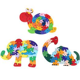 brinquedos de vaca para crianças Desconto Animal Crianças Enrolamento Animal Caracol Elefante Vaca Dinossauro Jigsaw Puzzle Brinquedo De Madeira Crianças Brinquedo Educativo Precoce