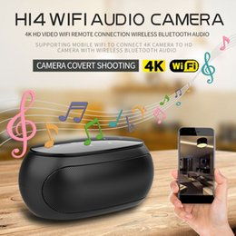Leitor de áudio wifi on-line-Sem fio wi-fi bluetooth speaker câmera 4K Ultra-HD 1080 P music player mini câmera Portátil de áudio bluetooth câmera de segurança em casa DVR H14