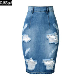 modelli di gonna arrampicati Sconti Cultiseed Women Jeans Skirt 2019 Donna Vita alta Foro Slim Hip Party Jeans Denim Gonne a tubino Ladies Office Work Skirt
