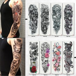 59ef6ce64 NEW 4 sheets Large Temporary Tattoos Sticker Men Arm Sleeves lelft Shoulder  Fake Tattoo Body Art sticker Twinset 3d Fake Totem discount shoulders  tattoos