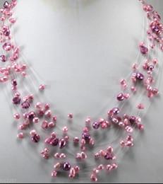 collar impresionante! Joyas de perlas de agua dulce genuinas de color rosa púrpura para mujer Collares desde fabricantes