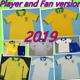 fãs do brasil Desconto BARATO Thai Qualidade JOGADOR VENTILADORES VERSÃO Brasil camisa de futebol 2019 América Copa 2020 kit para crianças adultas 19 20 G. JESUS P.COUTINHO FIRMINO