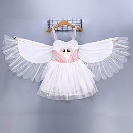 танцующие крылья малыш Скидка Девушка Детская одежда Лебединое платье Лето Susperder Белое платье с ангельским крылом Dance Show элегантное платье