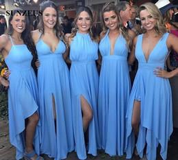 Deutschland Verschiedene Entwurfs-blaue Brautjungfern-Kleider nach Maß Chiffon- Hochzeitsfest-Kleid-Frauen-formale Abnutzung geben Verschiffen 2019 frei Versorgung