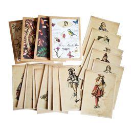 Vintage postkarten online-16 teile / los Vintage Retro Postkarte Europa Damen Und Herren Gruß Postkarte Geschenkkarten Für Weihnachten Neujahr Farty Liefert