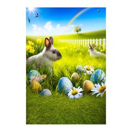 5x7FT Frohe Ostern Rainbow Sky Hare Fence Hierba Huevos de Pascua Fotografía personalizada Telones de fondo Fondo Banner Vinilo 220 cm x 150 cm desde fabricantes