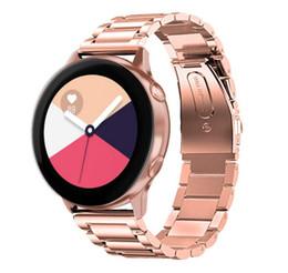металлический фибровый браслет Скидка 20мм Универсальный ремешок из нержавеющей стали для Samsung galaxy Watch Active 40мм / galaxy Watch 42mm Регулируемый ремешок для часов Металлический браслет