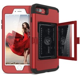 Cartes cachées en Ligne-Pour iPhone 8 Plus Etui Design Wallet avec miroir caché dans le dos et porte-carte Heavy Duty Housse de protection antichoc pour iPhone Xs Max