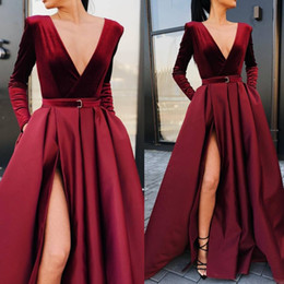 elastic long sleeves t shirt women Coupons - Long Sleeve Formal Prom Evening Dresses With Side Split V-neck Sashes Draped Prom Dress Long Party Women Pageant Gonws