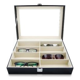 grandi contenitori di immagazzinaggio all'ingrosso Sconti Scatola portaoggetti per occhiali da sole con finta pelle Occhiali per vetrina Portaoggetti Organizer per deposito da 8 slot