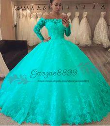 Robe de bal turquoise plus en Ligne-2019 Turquoise mascarade robe de bal robe de Quinceanera robes à manches longues en dentelle 3D Fleurs de l'épaule longueur du plancher Tulle Prom douce 16 robe