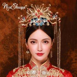 Joyería del pelo de la novia china online-Ornamento de la joyería de los accesorios del pelo NiuShuya de boda de lujo de novia tradicional china tocado pavo real del oro Hairband pelo de la corona