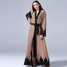 c1f1b153229 Women Muslim Dubai Abaya Robe with Belt 5XL Plus Size Muslim Turkish  Cardigan Soft Maxi Dresses Long Womens Lace Patchwork Clothing DK733MZ