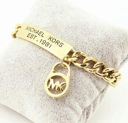 Preço pulseira 18k on-line-Atacado de Luxo 18 K Rosa de Ouro Branco Moda M / K Pulseira De Ouro Modelos Femininos Pulseira de Onda De Água Carta Logotipo Pulseira Baixo Preço B026