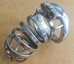 Cinturones de castidad con pinchos online-Masculina largos de acero inoxidable de castidad jaula de los hombres de metal grande de dispositivos de bloqueo de cinturón de púas Anillo del punto caliente atractivo vendedor Juguetes DoctorMonalisa