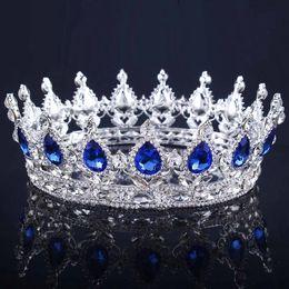 Farbtiara online-Vintage Gold Kopfschmuck Hochzeit Krone Legierung Braut Tiara Barock Königin König Krone Goldfarbe Strass Tiara und Krone billig