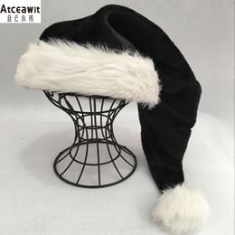 75 centímetros preto chapéu de pelúcia partido chapéu branco pele Adulto Natal Cap Xmas alta qualidade crianças da pele Adulto Plush partido Home Decoração de