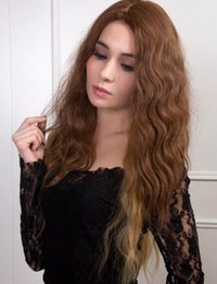 parrucche di alta qualità Sconti WIG LL 001840 nuova moda femminile glamour lato della pelle parte high-end parrucca sintetica dei capelli senza frangette