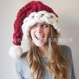 Adults children Halloween parent-child Christmas hats Hand-knitted  Icelandic woollen yarn hat long-tail hat leisure caps 9b6d15580634